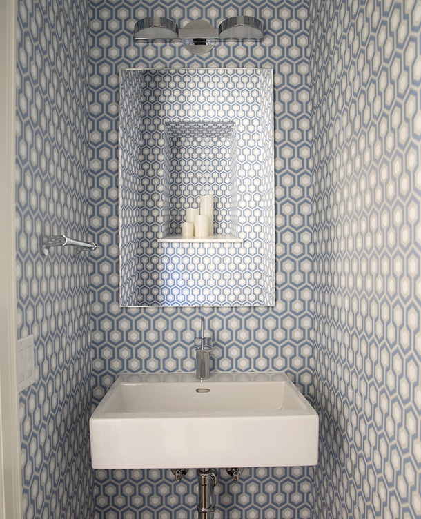 Geometric wallpaper in Pacific Heights Powder Room